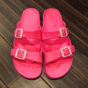 Cute neon pink slides! NWOT